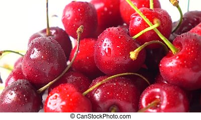Wet sweet cherries macro 4K dolly shot