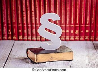 wet, symbool, houten, paragraaf, witte