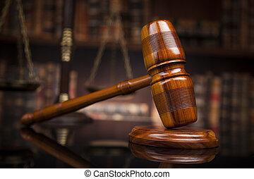 wet, thema, slaghamer, van, de, rechter, houten bureau, boekjes