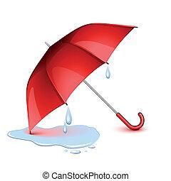 Wet umbrella - Wet red umbrella after the rain