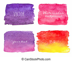 Wet Watercolor Ombre Backgrounds. Hand Painted. Vector...