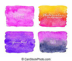 Wet Watercolor Ombre Backgrounds. Hand Painted.
