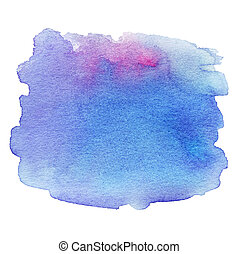 Wet Watercolor Wash. Abstract Water-color Background. Ombre Watercolour Teal Blue Backdrop, stain, drop