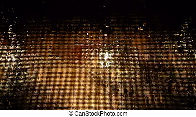 Wet Window Screen in the Dark