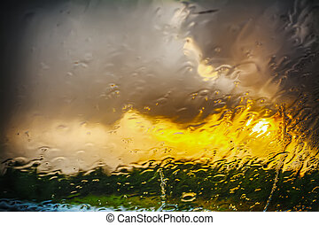 wet windshield on a rainy day