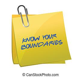 weten, jouw, boundaries., illustratie, ontwerp