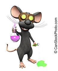 wetenschap, beeld, experiment, three., waanzinnig, muis, spotprent