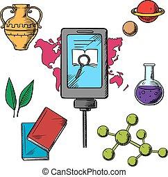 wetenschap, biologie, geschiedenis, iconen