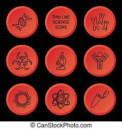 wetenschap, biologie, iconen