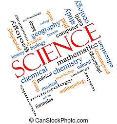 wetenschap, concept, woord, wolk, hoekig