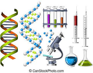 wetenschap, en, genetica, iconen
