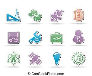 wetenschap, en, onderzoek, iconen