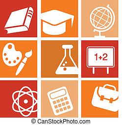 wetenschap, en, opleiding, iconen
