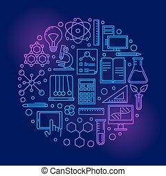 wetenschap, kleurrijke, illustratie