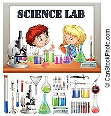 wetenschap labo, werkende , kinderen