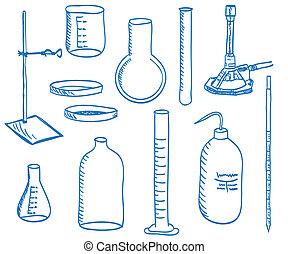 wetenschap, laboratorium uitrustingsstuk, -, doodle, stijl