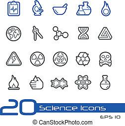 //, wetenschap, lijn, iconen, reeks