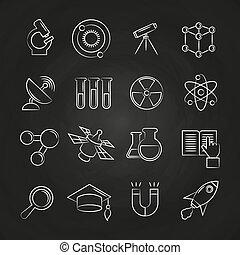 wetenschap, lijn, set, chalkboard, iconen