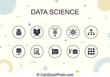 wetenschap, machine, leren, dune lijn, modieus, infographic,...