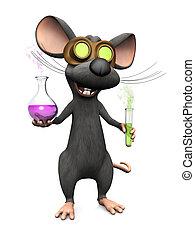 wetenschap, muis, waanzinnig, experiment., spotprent