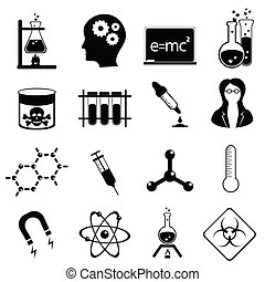 wetenschap, pictogram, set