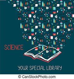 wetenschap, plakkaat, met, boek, en, informatie, symbolen,...