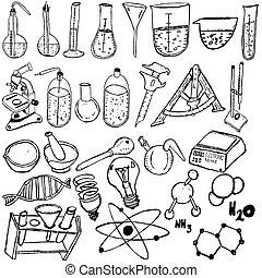 wetenschap, schets, iconen