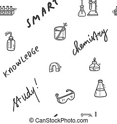 wetenschap, seamless, laboratorium, thema, farceren, achtergrond, doodle