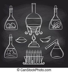 wetenschap, set, chalkboard, lavo uitrustingsstuk