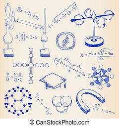 wetenschap, set, pictogram, hand, getrokken
