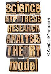 wetenschap, termijnen, verwant, onderzoek