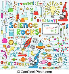 wetenschap, vector, illustratie, doodles
