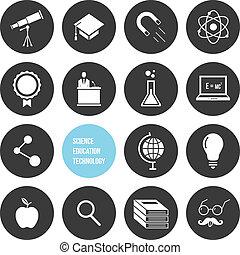 wetenschap, vector, opleiding, techno