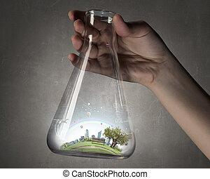 wetenschap, voor, groene, gezonde , leven