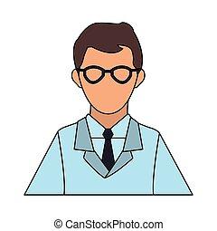 wetenschappelijk, avatar, spotprent