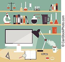 wetenschapper, apotheker, illustratie, desktop