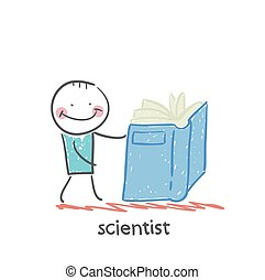 wetenschapper, boek, lezende