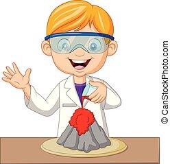 wetenschapper, jongen, experiment, spotprent, vulkaan
