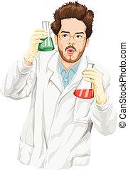 wetenschapper, liquid., het experimenteren, vector