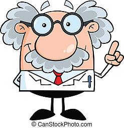 wetenschapper, of, professor, met, een, idee