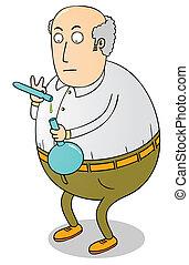 wetenschapper, oud, dik