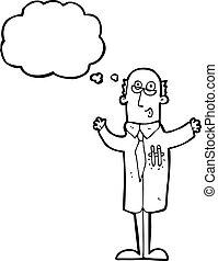 wetenschapper, spotprent, idee