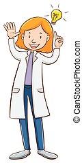 wetenschapper, vervelend, laboratorium, toga