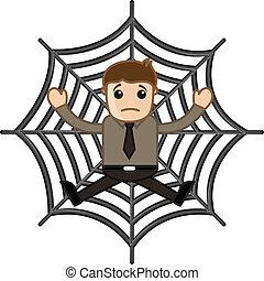 wetknięty, człowiek, sieć pająka
