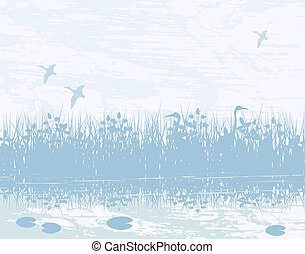 Illustration of birds in a natural wetland