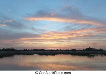 Wetland landscape at sunset. Tablas de Daimiel. Ciudad Real. Spa