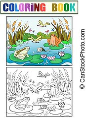 wetland landscape with animals coloring vector for adults -...