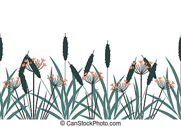 Wetland plants background - Wetland plants seamless vector ...