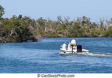 Motor boating in a protected wetlands refuge