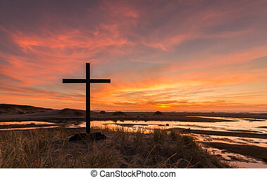 Wetlands Cross Sunset